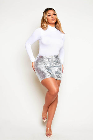 Silver Cracked Metallic Ruffle Mini Skirt