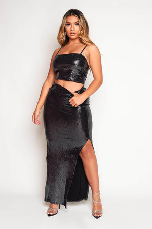 Black Sequin Thigh Split Maxi Skirt