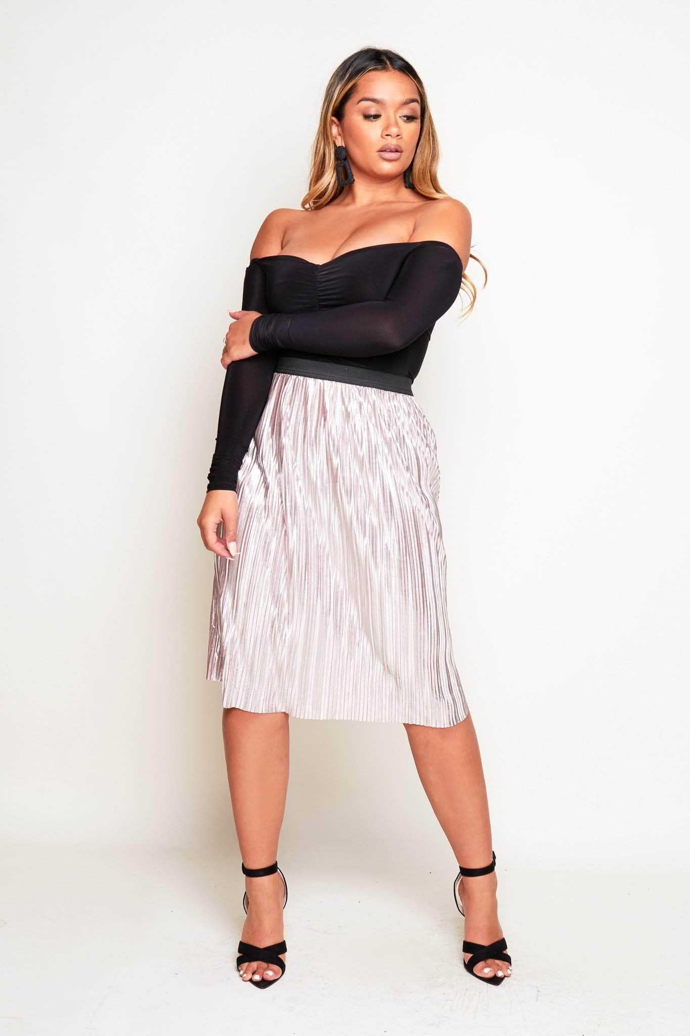 Metallic Silver Pleated Midi Skirt