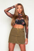 Khaki Denim Distressed Mini Skirt