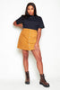 Plus+ Camel Cord Buttoned Mini Skirt