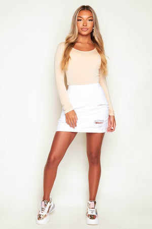 White Distressed Ripped Denim Mini Skirt
