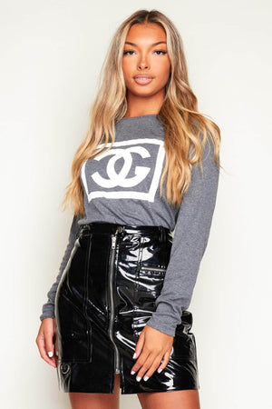 Black Vinyl Zip Up Mini Skirt