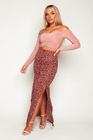 Brown Floral Double Split Maxi Buttoned Skirt