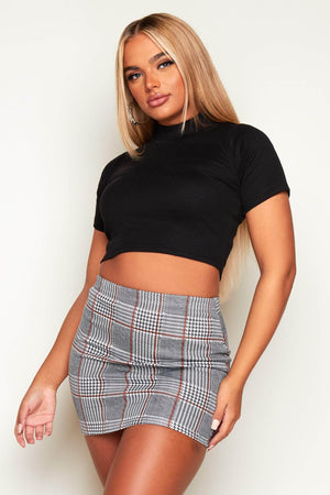 Black & White Checked Mini Skirt
