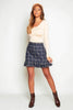 Blue Checked Ruffle Mini Skirt
