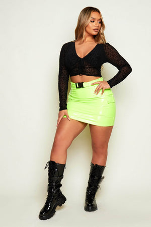 Neon Lime PVC Seat Belted Mini Skirt