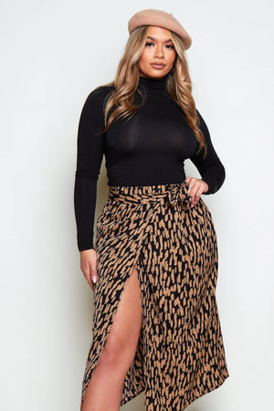 Brown Silk Printed Wrap Midi Skirt