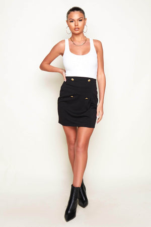Black Mini Skirt with Gold Buttons