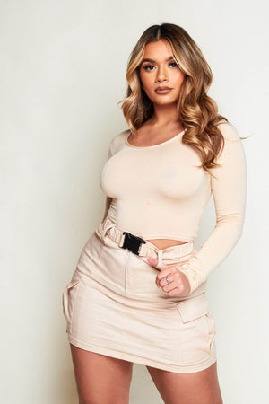 Cream Seat Belted Utility Mini Skirt