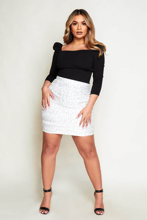 White Polkadot Organza Ruched Mini Skirt