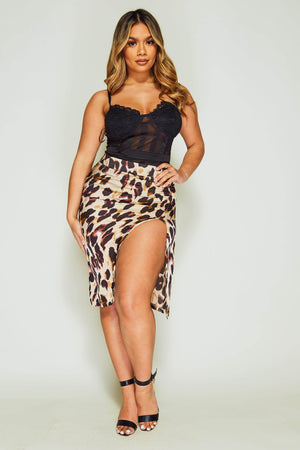 Leopard Midi Side Split Skirt