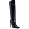 Black Patent Quilted Knee Boots
