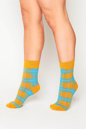 Yellow & Blue Checked Socks