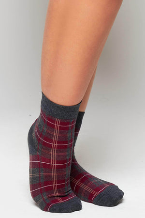 Grey & Red Checked Socks