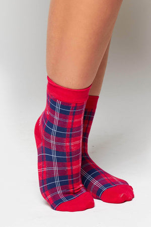 Red Checked Socks