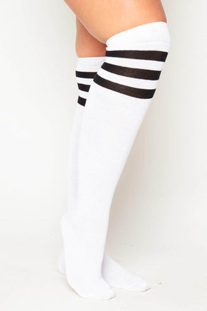 White & Black Over the Knee Socks
