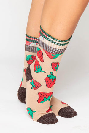 Camel Strawberry Printed Ribbed Socks