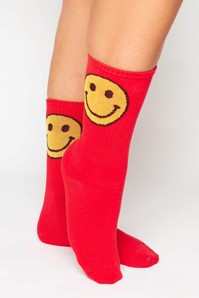 Red Ribbed Socks with Smiley Emoji