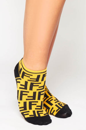 Black & Yellow Monogram Ankle Socks