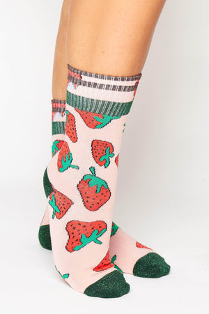 Pink Strawberry Printed Ribbed Socks