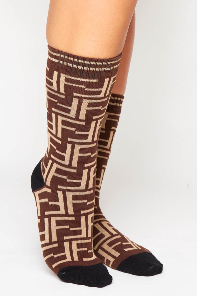 Brown Double F Monogram Ribbed Socks