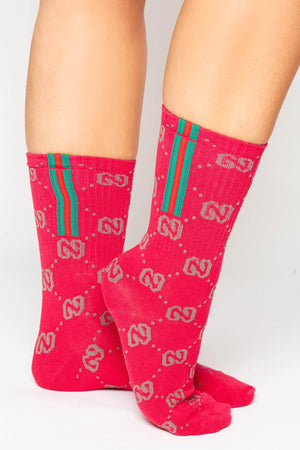 Red Ribbed G Monogram Sport Stripe Socks