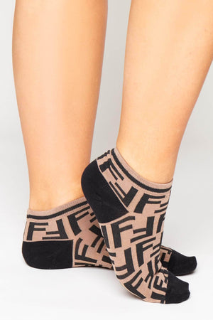 Brown & Black Monogram Ankle Socks