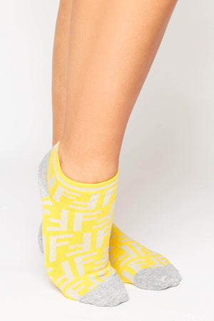 Grey & Yellow Monogram Ankle Socks