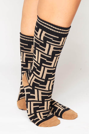 Black Double F Monogram Ribbed Socks