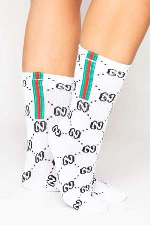 White Ribbed & Sports Stripe Monogram Socks