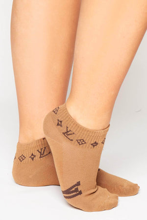 Brown Monogram Ankle Socks
