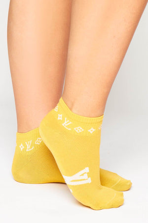 Yellow Monogram Ankle Socks