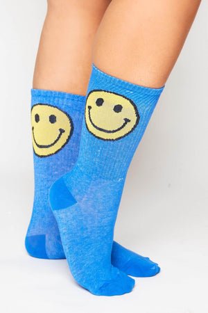 Blue Ribbed Socks with Smiley Emoji