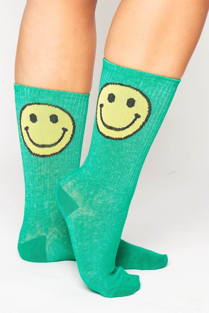 Green Ribbed Socks with Smiley Emoji