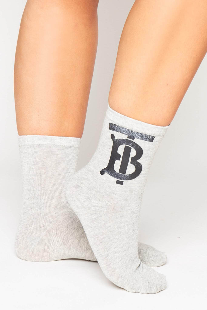 Grey & Black Monogram Socks
