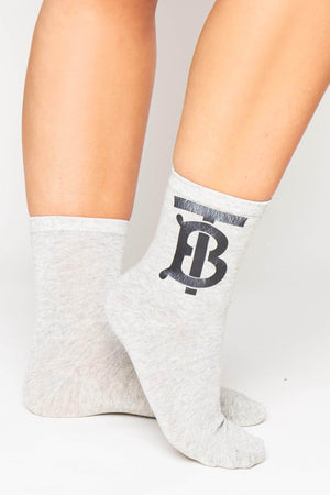 White Ribbed Monogram Socks