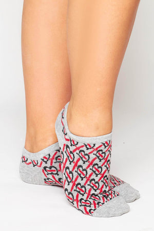 Grey & Red Monogram Ankle Socks