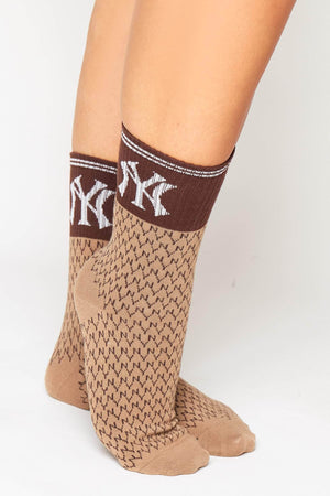 Camel Ribbed NY Monogram Socks