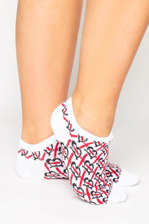 White & Red Monogram Ankle Socks