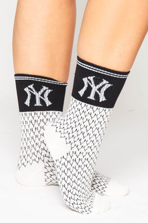 White Ribbed NY Monogram Socks