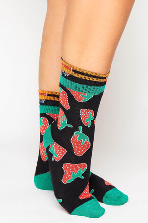Black Strawberry Printed Ribbed Socks