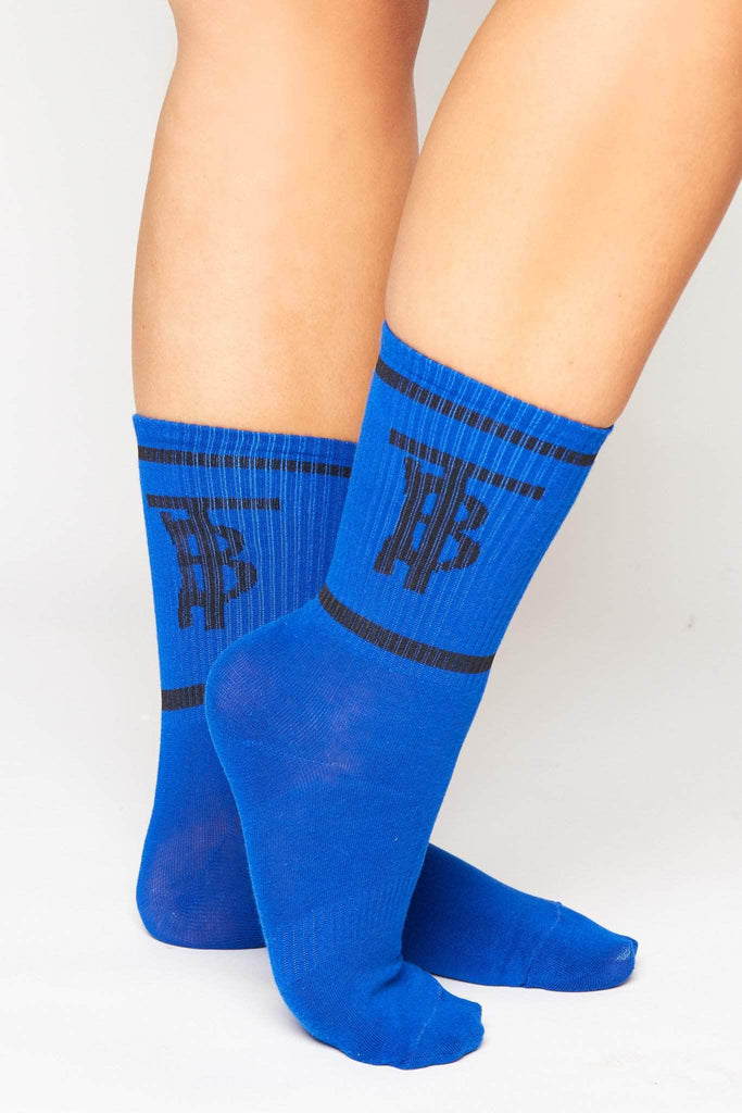 Navy Ribbed Monogram Socks