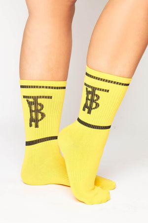Yellow Ribbed Monogram Socks