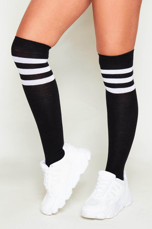 Black & White Over the Knee Socks