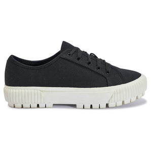 Black Canvas Trainers with White Contrast Sole
