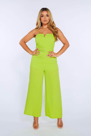 Green V Bar Belted Wide Leg Jumpsuit