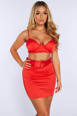 Red Satin Belted Skirt & Crop Top Set