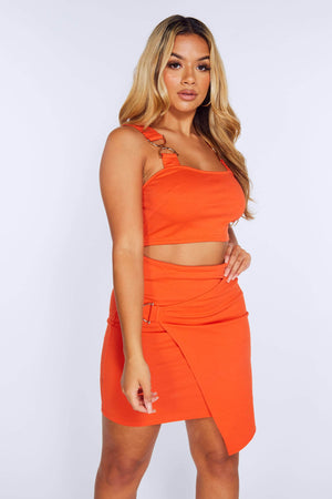 Orange Wrap Skirt & Cropped D Ring Bralet Set