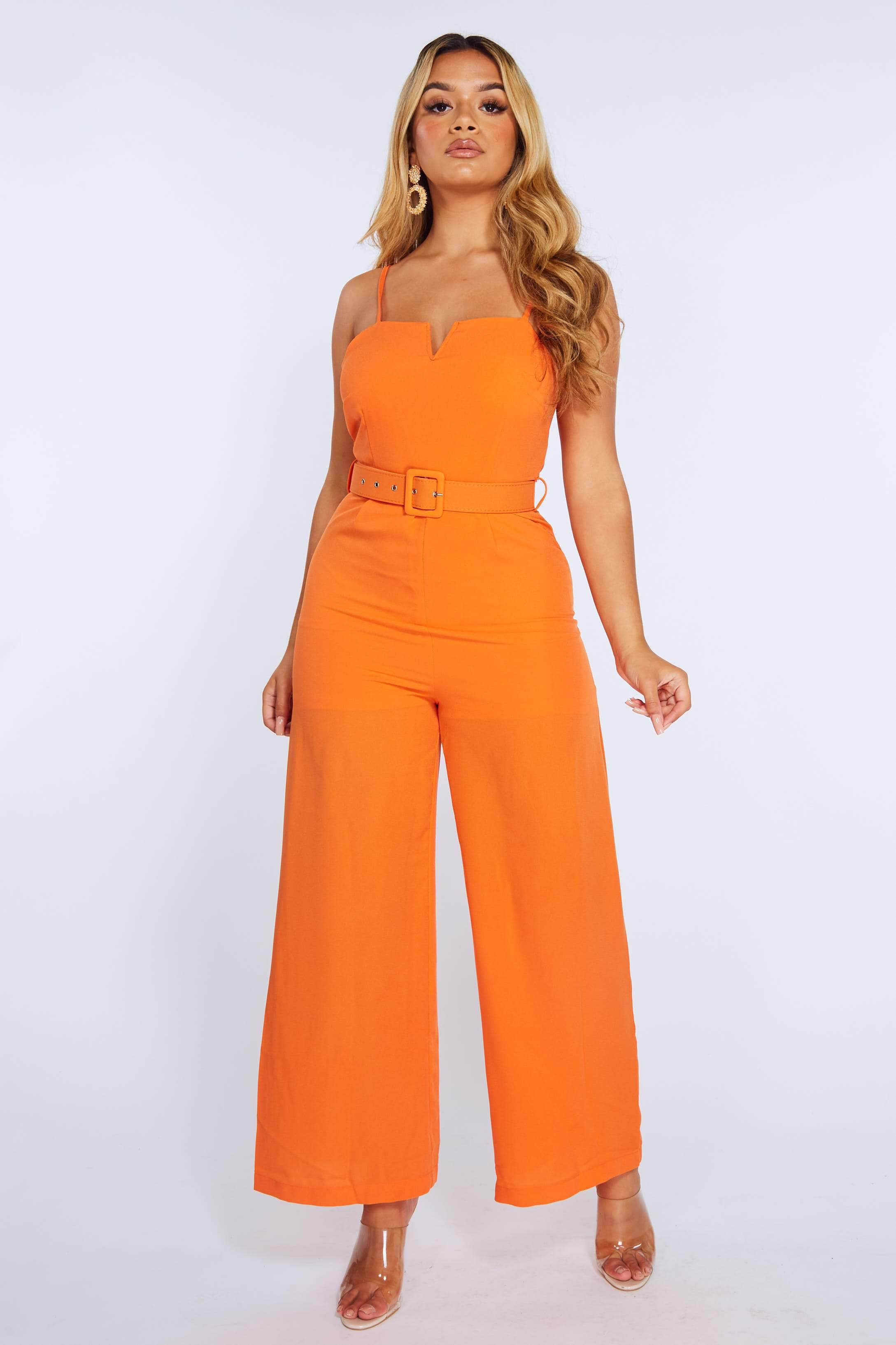 Orange V Bar Belted Wide Leg Jumpsuit